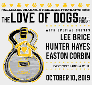 The Love of Dogs concert poster with details