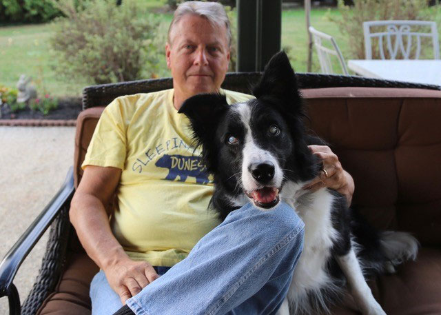 Stevie Wonderful, 2020 Rescue Dog of the Year, with his dad