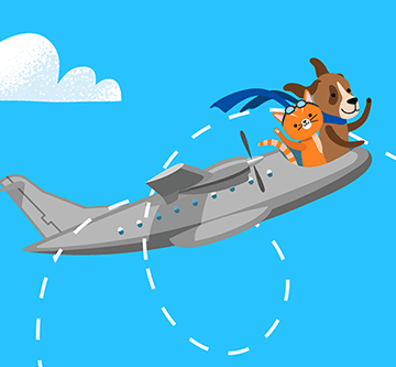 illustration of dog and cat on plane