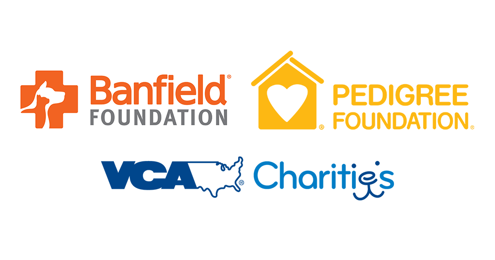 logos for Banfield Foundation, PEDIGREE Foundation, VCA Charities