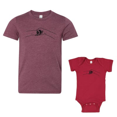 youth t-shirt and baby onesie with human hand and dog paw shaking