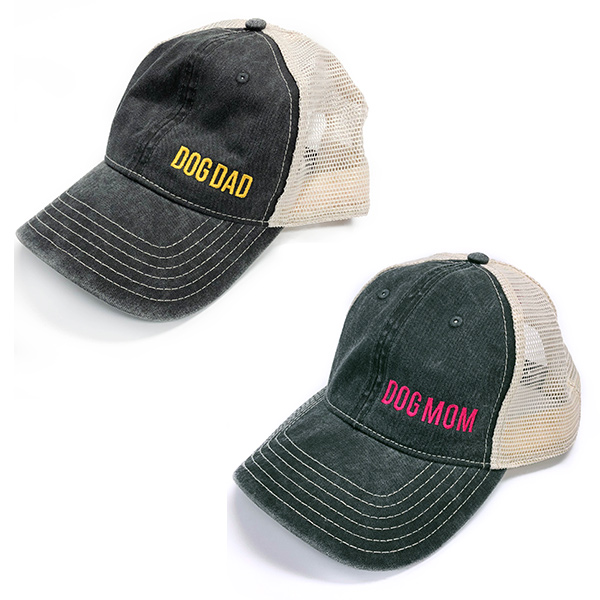"hats embroidered with ""Dog Dad"" or ""Dog Mom"""