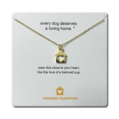 Gold necklace with heart house charm