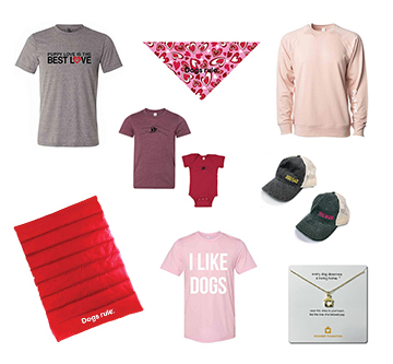 collage of shirts and other Dogs Rule.® gear