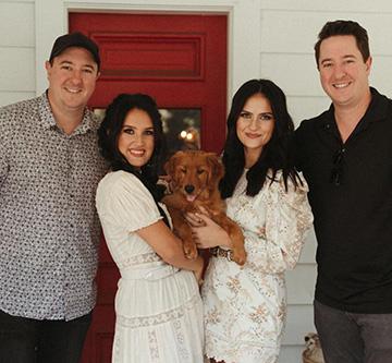 Presley & Taylor with John Edde and Matt Edde with a puppy.